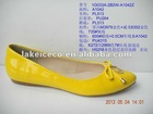 lady flat yellow genuine leather casual shoes (flat leather shoes women; ladies flat leather shoes 2013 design)
