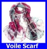 New Style Fashion Voile Rose Surrealistic Shine Printed Soft Weman Rectangular Warp Knitting Scarves 100*180cm