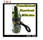 2012 Bestselling Outdoor Safety Product 7 in 1 Multi-Function Traveling Survival Whistle for Hiking Camping