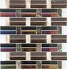 ES04 hot design glass mosaic strip tiles mixed with aluminum mosaic
