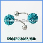 Wholesale Stainless Steel Belly Button Rings Shamballa 10mm Crystal Rhinestone Disco Ball Body Navel Bell Jewelry BBR-A002