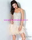 Bestselling Sweetheart Strapless Crystals Feather Sexy Mini Short Cocktail Party Dresses