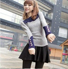 Stylish Button Embellished Cuff Color Block T-Shirt Grey QM12092440-1