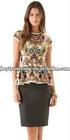 fashion autumn dress sweater 12gg knitte wide neck elbow length sleeve intarsia color block dress knitwear wih belt BS-1378