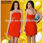 SC055 Orange Mesh Beaded Pleated Off Shoulder Short Homecoming Dresses under $50