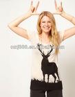 America Europe pop deer round collar short sleeve T-shirt