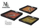 100% Handmade Square Set Of 3 Antique Bird Pattern Wood Serving Tray