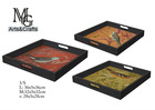 100% Handmade Square Set Of 3 Antique Bird Pattern Wood Serving Tray