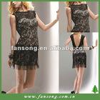 Elegant bateau neck black lace short evening dress
