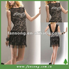 Elegant bateau neck black lace short evening dress