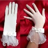 2012 new Affordable Flower Beaded White tulle wedding /bridal gown The bride gloves