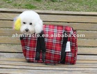 checked fabric pet bag