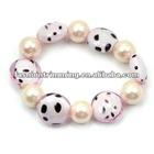 Pink elastic glaze and imitation pearl bracelets