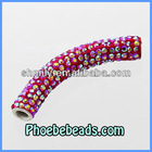 Micro Pave Bling Crystal Rhinestone Clay &Metal Curved Tube Beads Wholesale Shamballa Bracelets Findings CTB-030