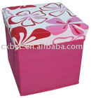 quadrate Pink flower have cover storage stools