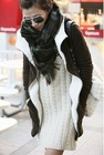 FY4743 2011 new autumn and winter coffee open in the front zipper long hooded fleece jacket