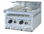 Stainless Steel Gas Fryer 2 tanks 2 baskets GF-72A with Gas Safety