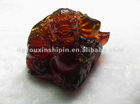 Rare Red Brown Burmite Amber Dragon Carved Decoration