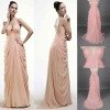 NEW!! Straight Full-Length V-Neck Sleeveless Chiffon with Side-Darped and Ruffles Very Veay Sexy Prom Dresses 2012
