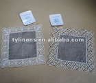 Water soluble embroidery ecru linen cup coaster