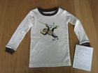 baby ivory embroidery and applique 1*1 rib 100% cotton long sleeves T-shirt