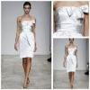 MB2016 Concise Ruffle Strapless Sash Boweknot Sleeveless White Western Vintage Bridesmaid Dresses Cheap