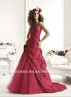Red A-line taffeta girls pageant dresses