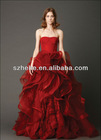VW001 2013 New Design Ball Gown Waved puffy skirt red and white wedding dresses