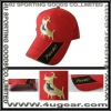 Red 100% Cotton 6-panel curve brim golden thread emb baseball cap with buckle