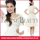 Top popular tea-length taffeta short sleeve knee length wedding dress