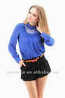 garment factory fashion clothing wholesale long sleeve lace shirts and blouses for women blue color plus size ladies blouse