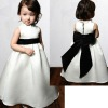 High Collar Satin with Black Sash Flower Girl Dress 2012
