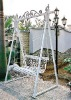 wrought iron garden swing chair
