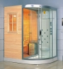 sauna room with steam and shower