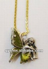 Pretty Flower Fairy Pendant, Metal Necklace Pendant