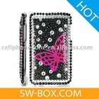 Butterfly Diamond Rhinestone Bling Hard Case for iPod Touch 2 / 3(Black & Pink) -for ipod touch case