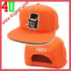 Orange 5 panel flat brim snap back hats