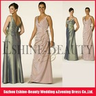 Discount satin floor-length sexy deep V-neckline real sample bridesmaid dress