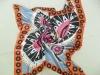Beautiful woman silk pink square printed scarf