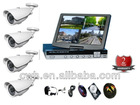 Complete System-4CH CCTV DVR Kit Cameras Night Vision Video Security System Network Mobile with LCD and 500GB HDD