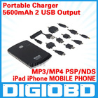 5600mAh Mobile Power for iPad iPhone MOBILE PHONE MP3 MP4 PSP NDS Samsung p1000 2 USB Output Portable Charger