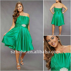 wholesale A line taffeta gorgeous pleated green plus size cocktail dress