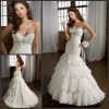ML056 Sexy Beaded Ruffles Mermaid Lace Bridal Dresses Made in China