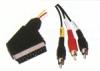 21p scart plug -rca plug cable