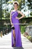 Western Beaded Purple Long Bridesmaid Long Gown