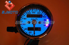Motorcycle Universal Dual Odometer Speedometer White Face 3-LED Speedo Mini Gauge