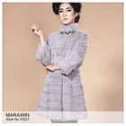10527 Sheared rabbit ladies' fur long coat with 3/4 length sleeve