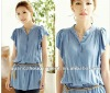 2012 hot sell new stytle fashion short sleeve round collar blouse dress