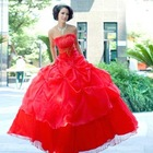 2011 new Elegant and stylish French romantic aesthetic embroidered red wedding dress waist models LF532