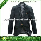 Autumn High Class Dark Green Checkered Branded Wool Blended Casual Fashion Suits